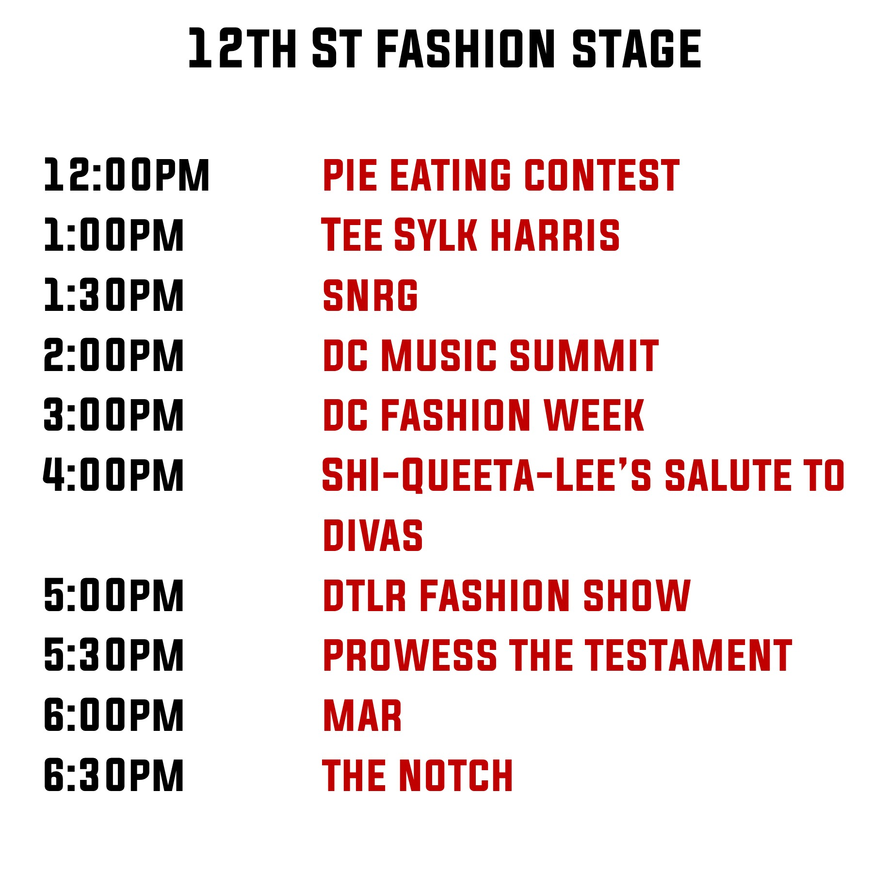 12th Stage line up